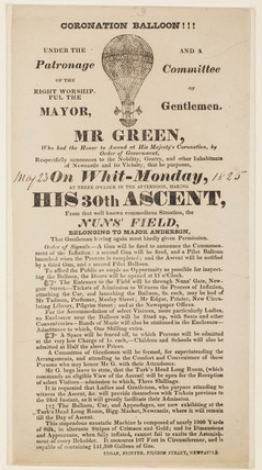 Broadsheet advertising Green's balloon ascent, 1825.