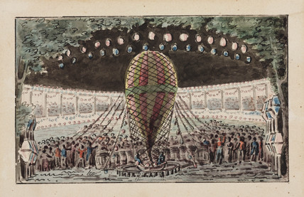 Preparing for a balloon ascent, 19th century.