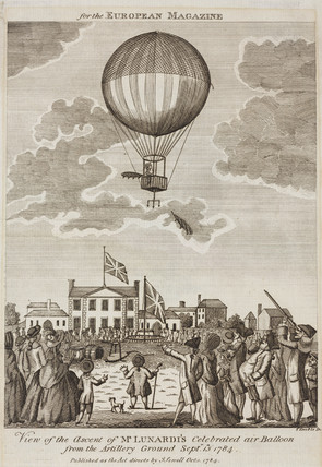 The first ascent in a hydrogen balloon in Britain, 15 September 1784.