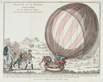 The first flight in a hydrogen balloon, 1 December 1783.