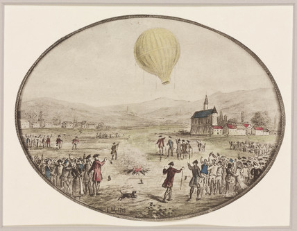 The first public balloon ascent, 5 June 1783.