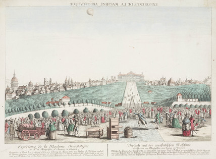 Charles and Robert's first balloon ascent, 27 August 1783.