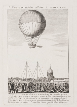 Blanchard's first balloon ascent, 2 March 1784.