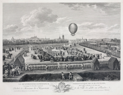 'Blanchard's fourteenth aerostatic experience', 26 August 1785.