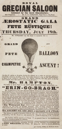 Broadsheet advertising Hampton's balloon ascent, c 1840.