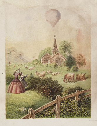 Balloon in a landscape, 19th century.