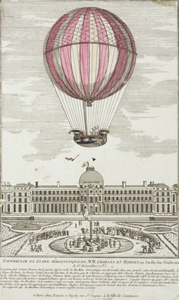 Charles and Robert's aerostatic globe experiment, Paris, 1 December 1783.