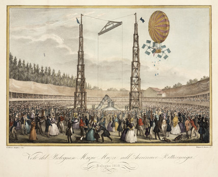 'Flight of the Bolognese Muzio Muzzi in the Airship Retirremiga', 1838.
