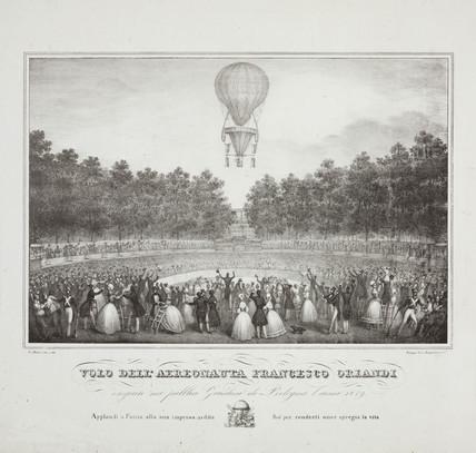 'Flight of the aeronaut Francesco Orlandi', 1839.