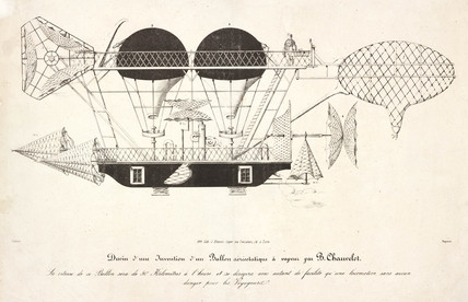 Chauvelot's aerostatic balloon, 1856.