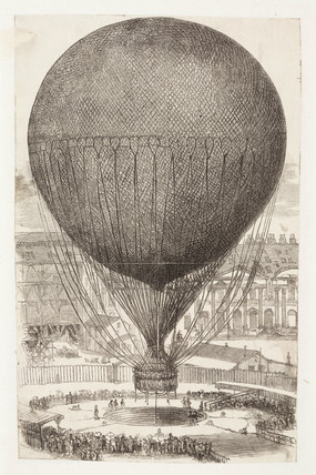 Captive balloon ascent from the Tuilleries, Paris, 1878.