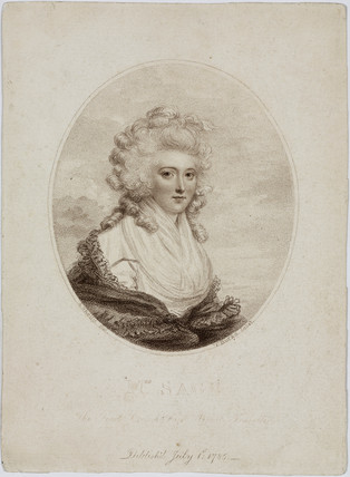 Mrs Sage, first lady balloonist, 1785.