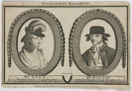 Mrs Sage and Mr Biggin, English aerial travellers, 1785.
