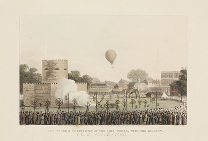 'The Tower and Preparation of the Fire Works with the Balloon', 1814.