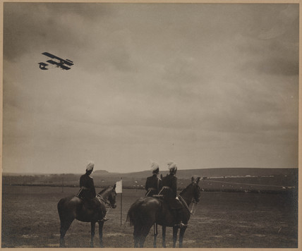 Military biplane flying over Salisbury Plain, Wiltshire, 1911-1914.