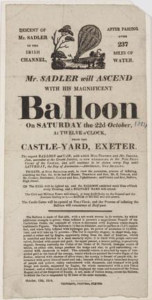 Handbill announcing Sadler's balloon ascent, 1814.