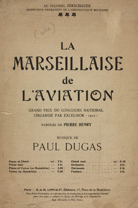 'La Marseillaise de l'Aviation', sheet music, 1912.