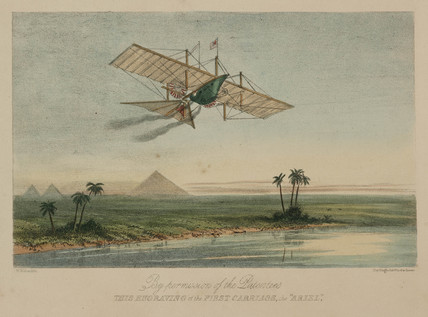 Henson's 'Ariel' above the Pyramids, Egypt, 1843.
