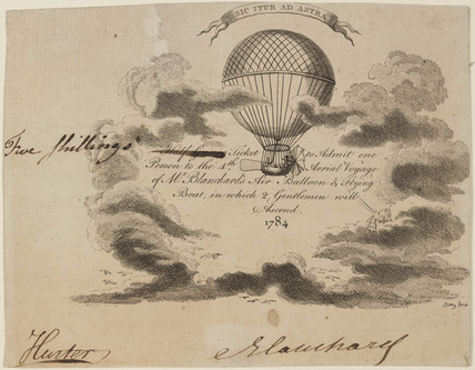 Ticket to Blanchard's balloon ascent, 16 October 1784.