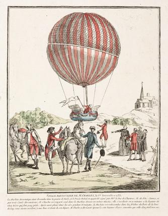 The first flight in a hydrogen balloon, 1 December 1783.