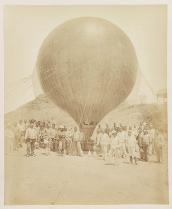 A balloon in a desert setting, 1885-1890.