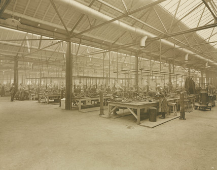 Interior of National Aircraft Factory No 3, Aintree, Liverpool, 1918.