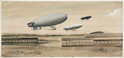 Royal Navy airships, Kingsnorth to Capel le Ferne race, Kent, 1917.