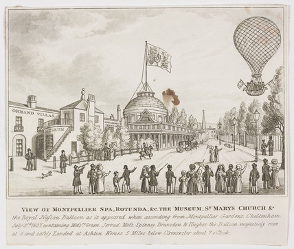 The 'Nasau' balloon ascending at Montpellier Spa, 3 July 1837.