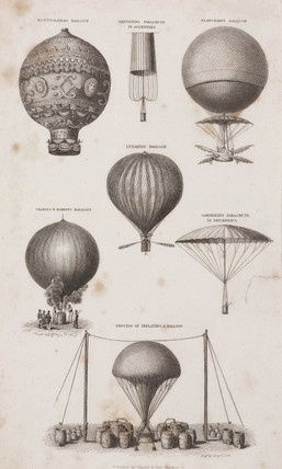 Examples of hot-air balloons and parachutes, 18th-19th century.