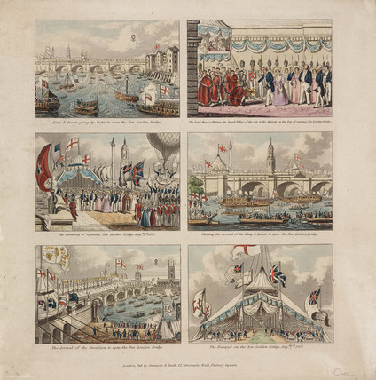 The opening of New London Bridge with Green's balloon, 1 August 1831.