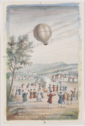 'First Ascension of a Montgolfier at Annonay', France, 5 June 1783.