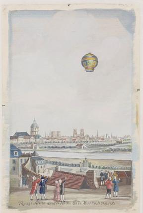 'aerial Voyage in the Gardens of La Muette', Paris, 21 November 1783.