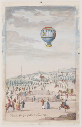 'aerial Voyage made at Lyons', France, 19 January 1784.