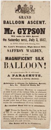 Handbill advertising Gypson's grand balloon ascent, 3 July 1847.