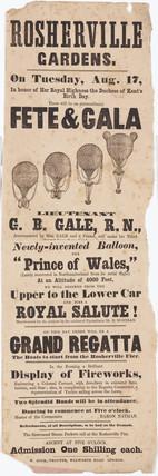 Handbill advertising Gale's balloon ascent, 17 August 1847.