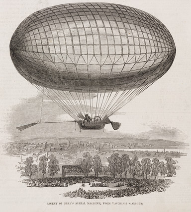'Ascent of Bell's aerial Machine from Vauxhall Gardens', July 1850.