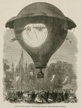 'Ascent of Mr Godard's Montgolfier Balloon from Cremorne Gardens', 1864.