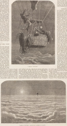 Newspaper illustrations of a scientific balloon ascent, 1862.