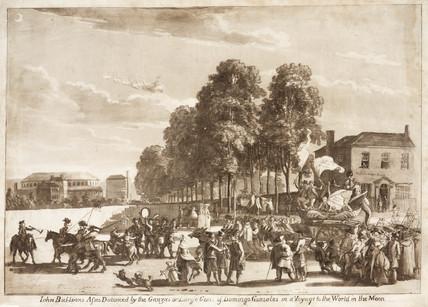 Satirical ballooning sketch, 1784.