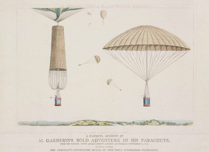 'An Accurate View of Mr Garnerin's Parachute', 1802.