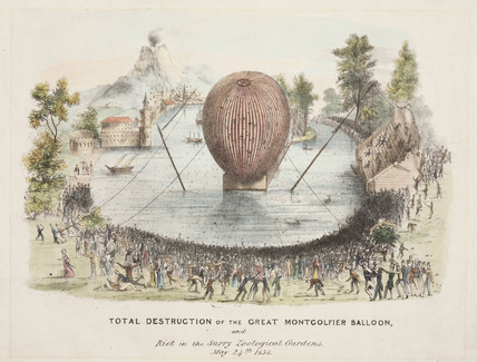 'Total Destruction of the Great Montgolfier Balloon', 24 May 1838.