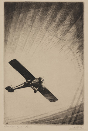 The 'Spirit of St Louis' in flight, 1927.