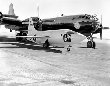 X-1-2 on Ramp with Boeing B-29, California, USA, 1 January 1949.