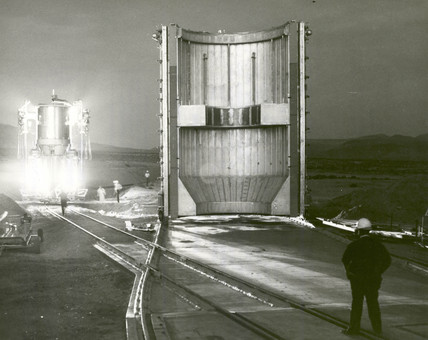 Nuclear rocket engine being transported to test stand, Nevada, 1 Dec 1967.