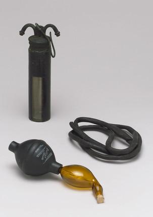 Penicillin inhaler (front) of 1945-1955 and Chloroform inhaler, 1871-1910.