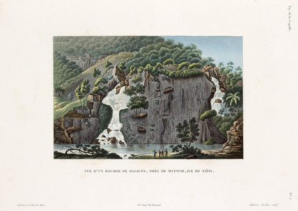 View from a basalt rock, near Matavai, island of Tahiti, 1822-1825.