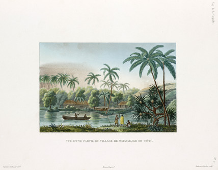 View of a village at Matavai, island of Tahiti, 1822-1825.