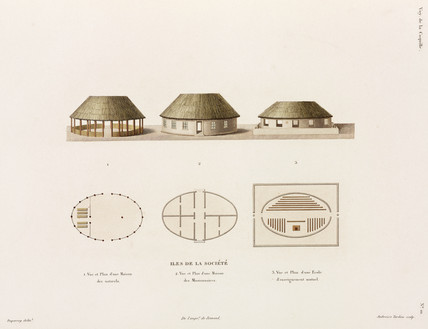 Thatched buildings, Society Islands, 1822-1825.