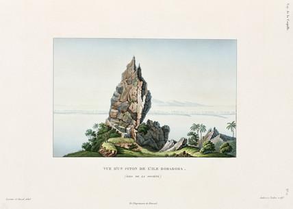 Rocky outcrop on the island of Bora-Bora, (Society Islands), 1822-1825.