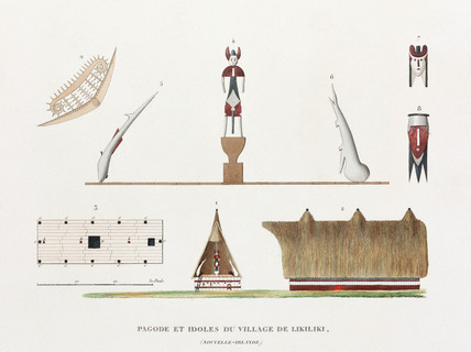 Pagoda and idols from the village of Likiliki, (New Ireland), 1822-1825.